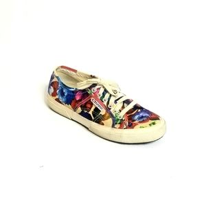 Superga Floral Lace Up Canvas Sneakers